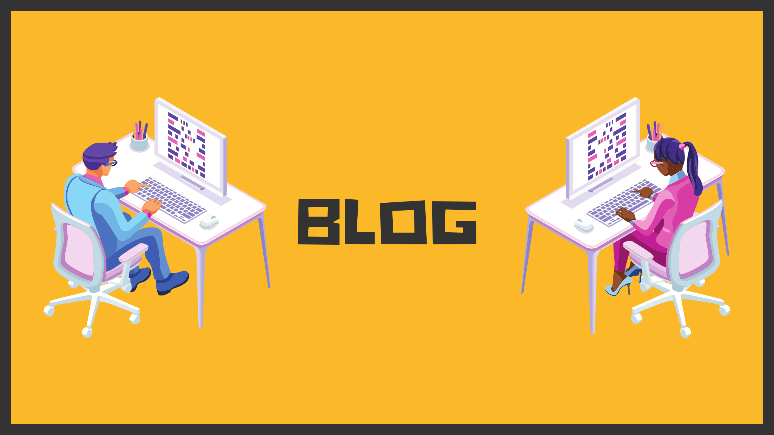 """Cover image for blog section. Two people on the computers are on the sides and in the middle, it says """"Blog"""""""
